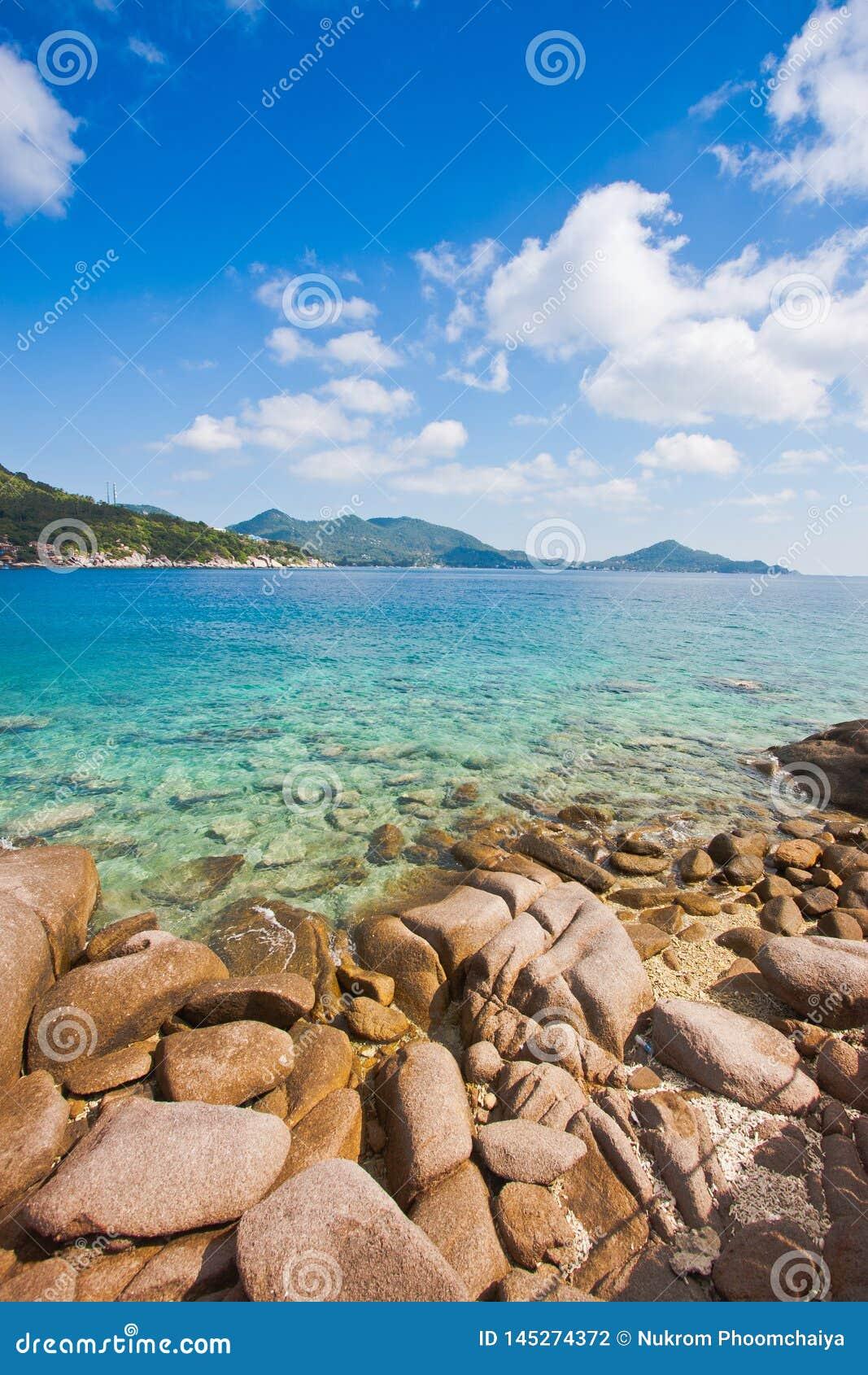 Koh το νησί tao είναι δημοφιλής εξωτικός τουρισμός για το σκάφανδρο κίνησης με ένα όμορφο υπόβαθρο τοπίων φύσης