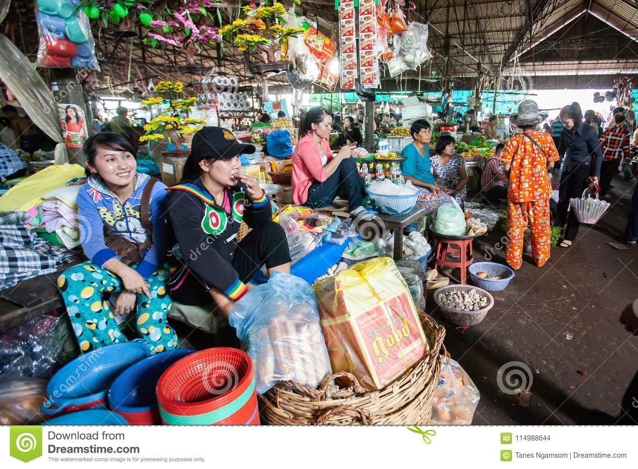 Vendor Khmer girls at the local market. Koh Kong Province.