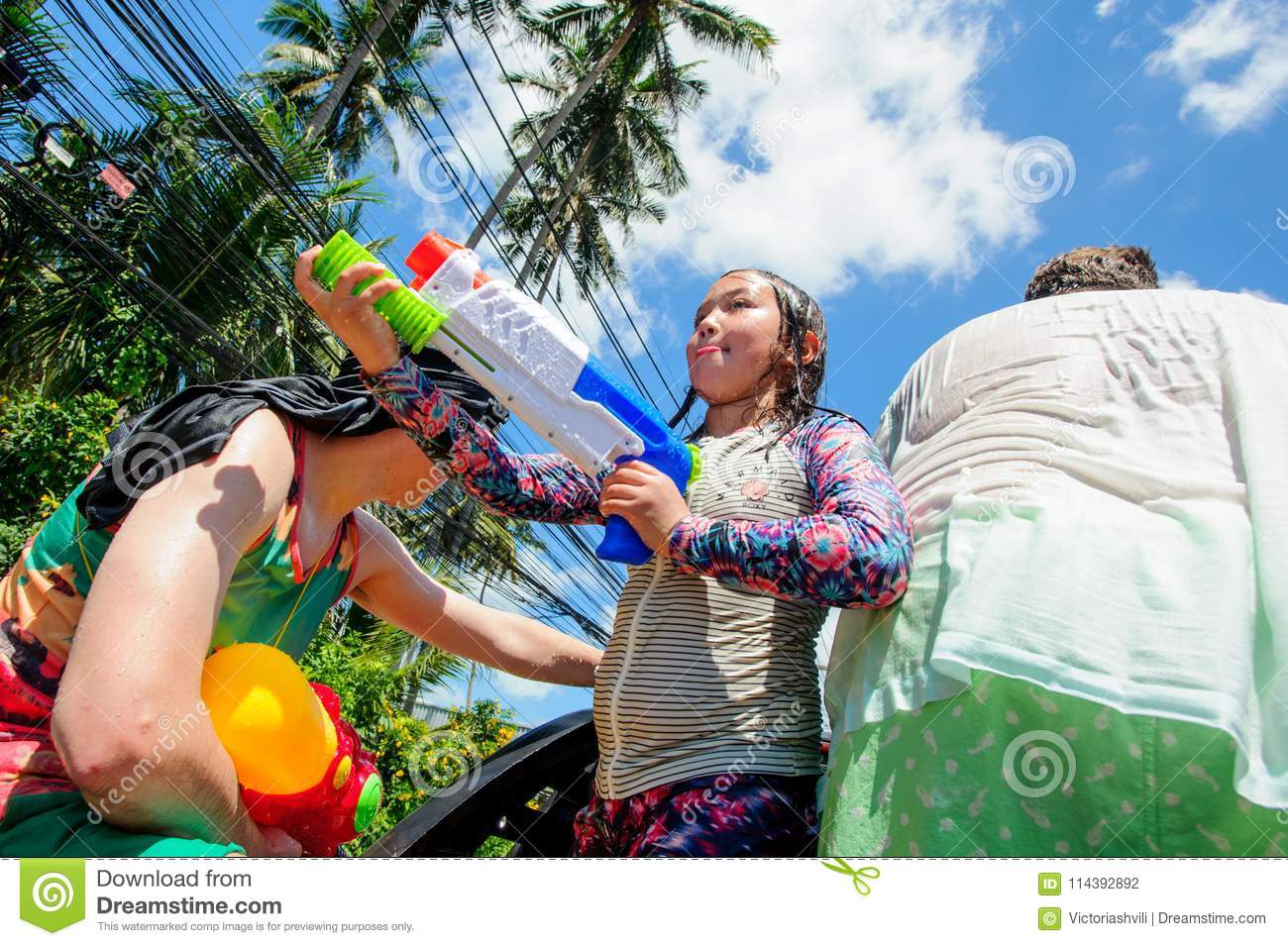 Koh Samui, Thailand - April 13, 2018: Songkran Party - the Thai New Year Festival. People celebrating together