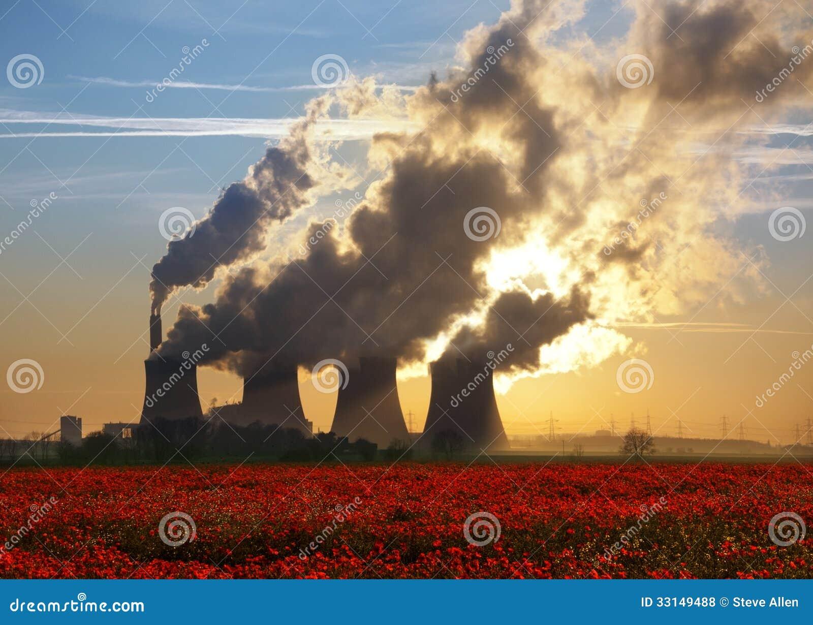 Kohle abgefeuerte Energie-Anlage und Poppy Field