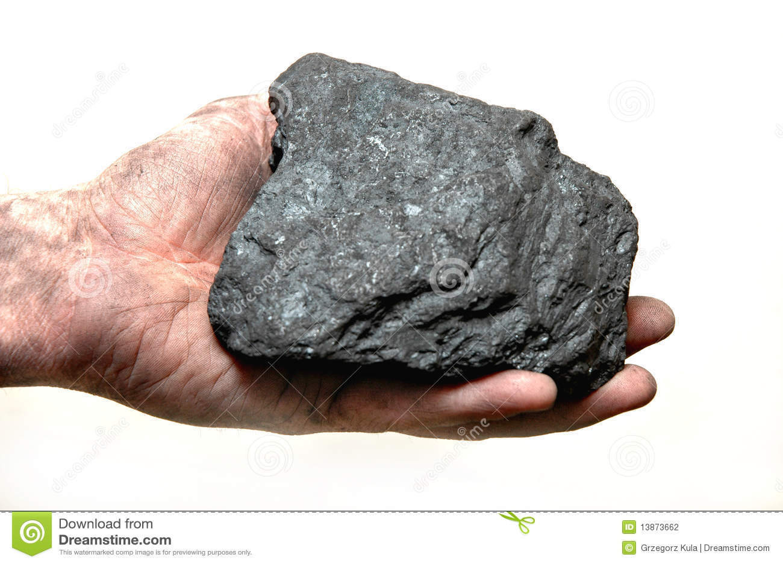 Kohle in der Hand des Bergmannes