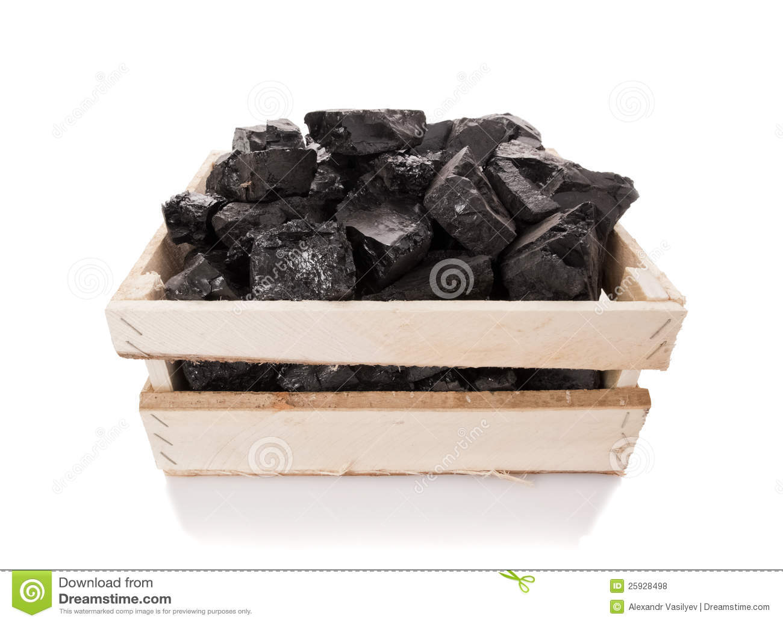 Kohle in einem hölzernen Kasten