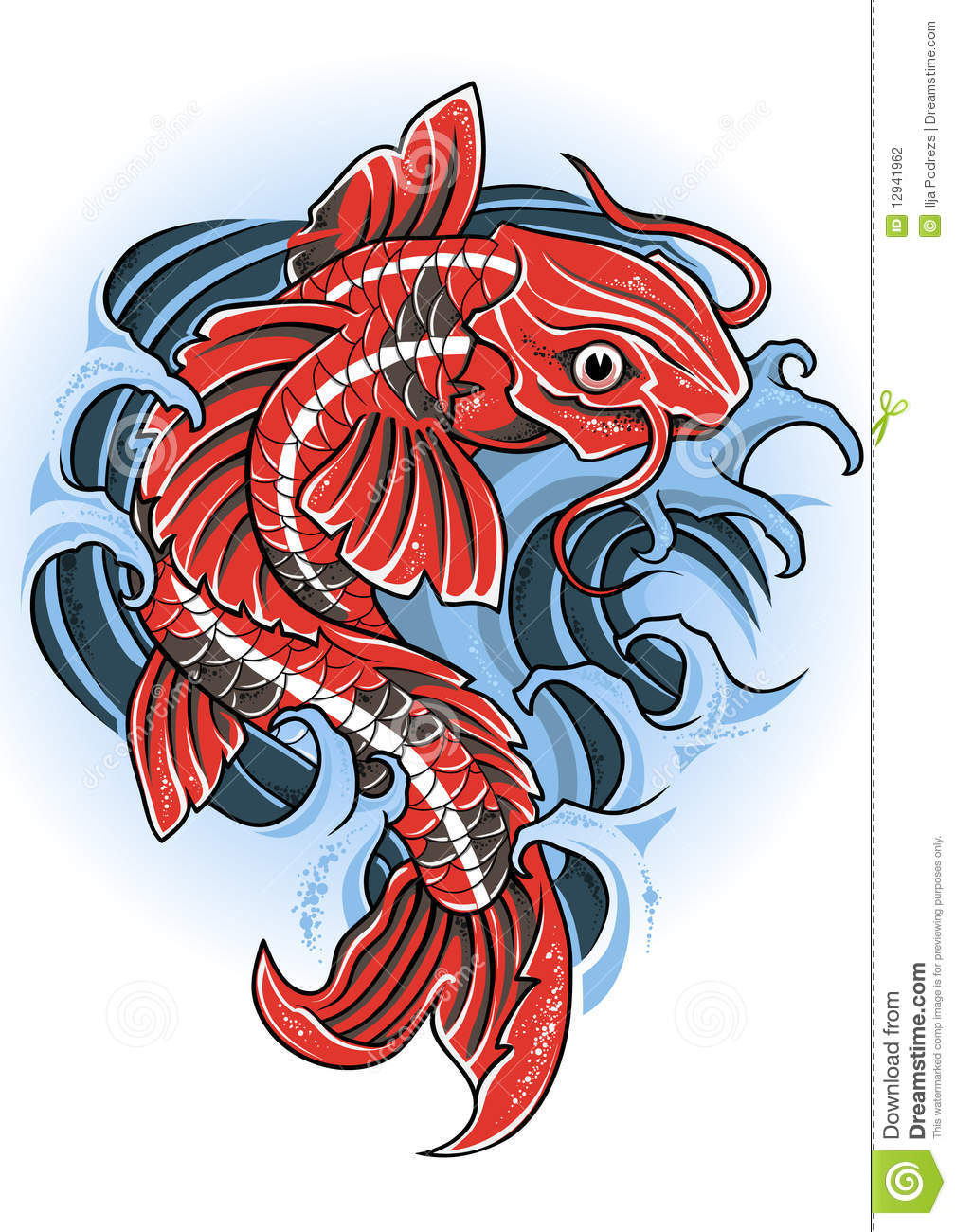 Koi stock vector. Illustration of ancient, japanese, carp - 12941962