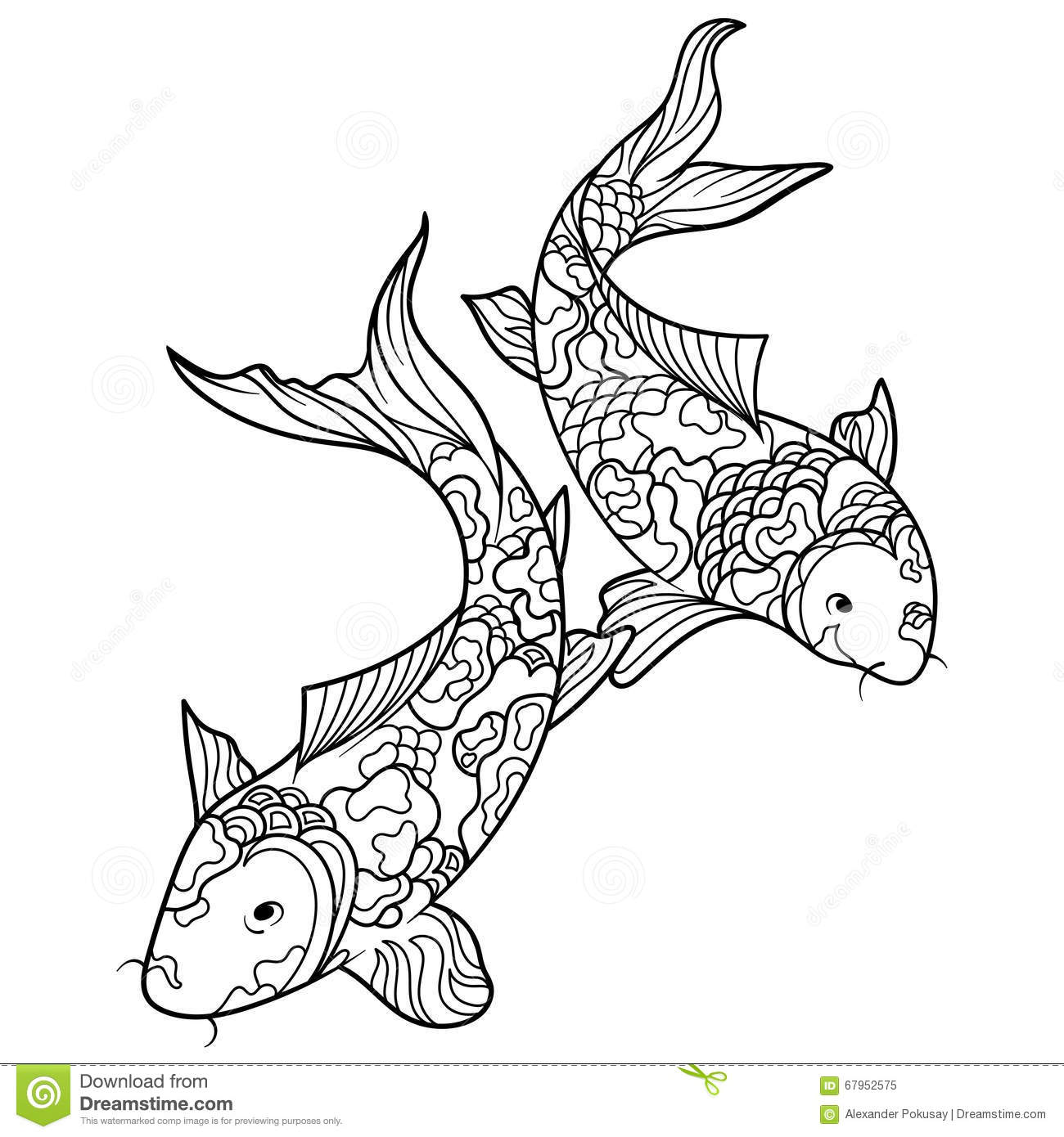 Koi Carp Fish Coloring Book For Adults Vector Royalty Free Stock Photo