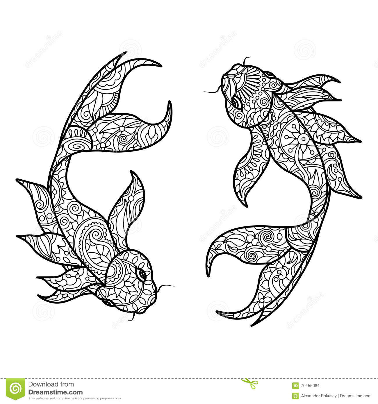 Koi Carp Fish Coloring Book For Adults Vector Stock Vector