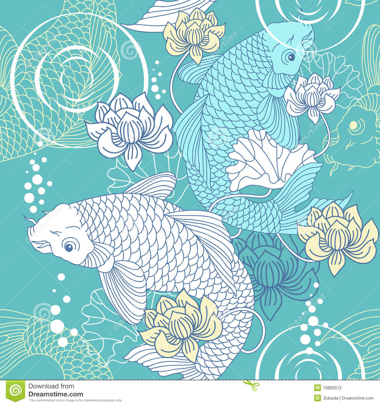 Lotus Flower Design Wall Paper : Koi carp seamless pattern stock vector image of