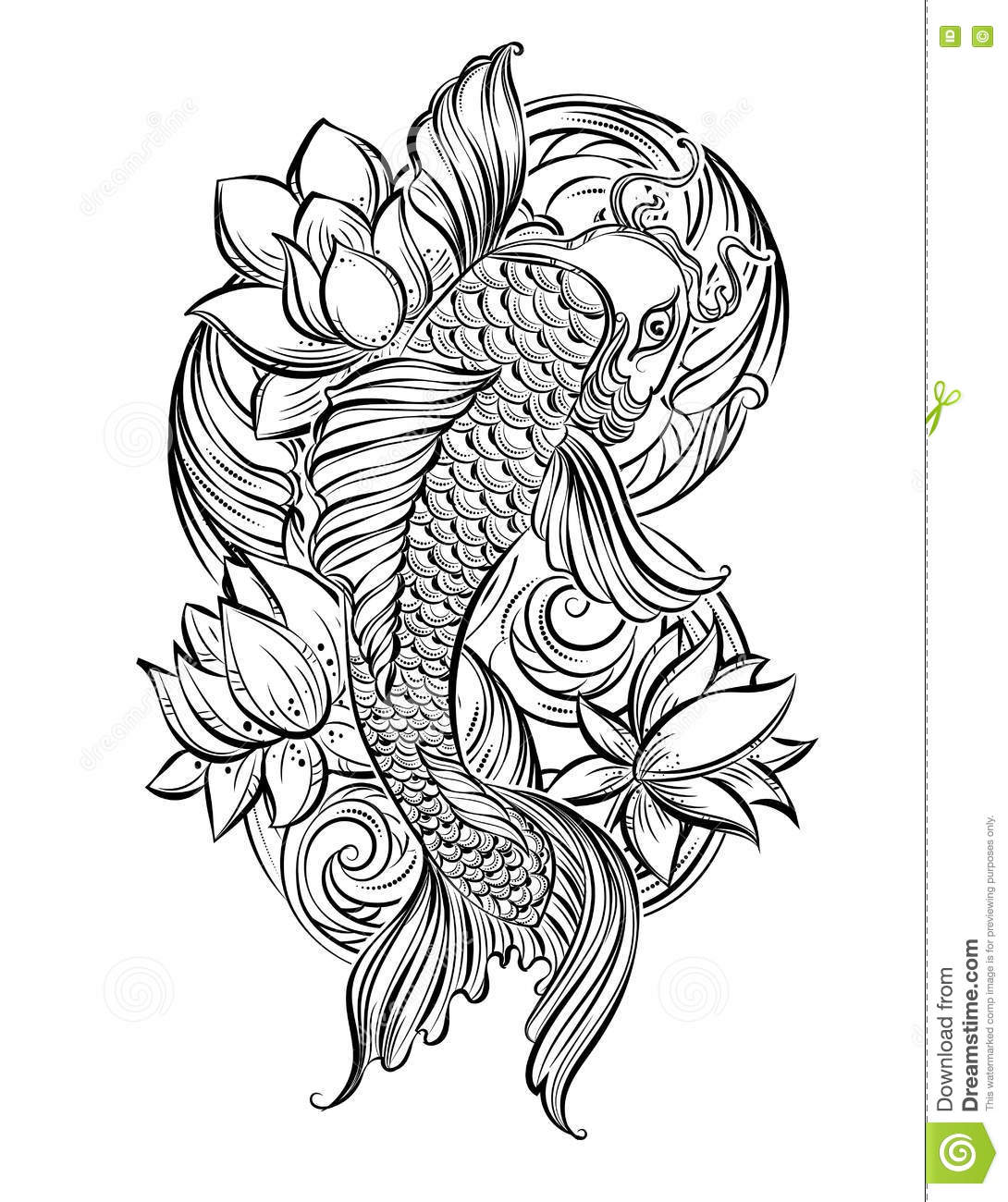 Koi carp tatoo 1 stock illustration illustration of for Koi carp pool design