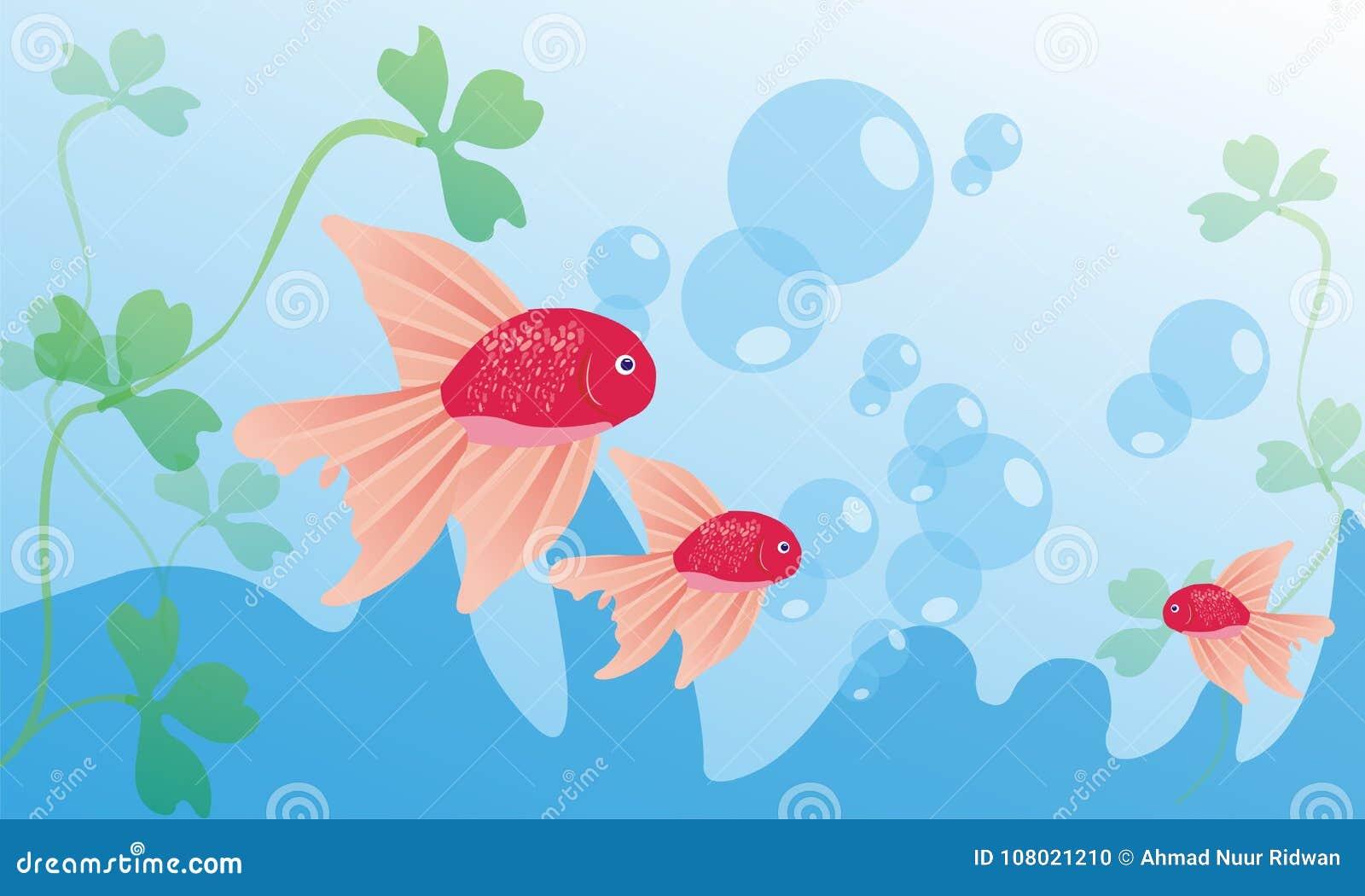Koi Fish And Aqua Blue Wallpaper