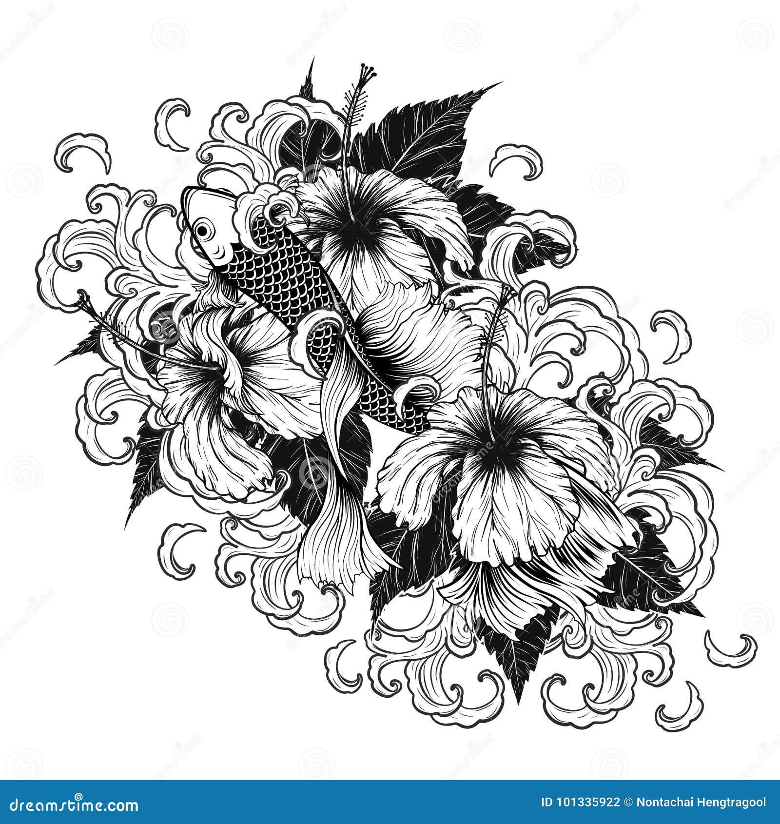 Koi fish and hibiscus tattoo by hand drawing stock vector koi fish and hibiscus tattoo by hand drawing izmirmasajfo
