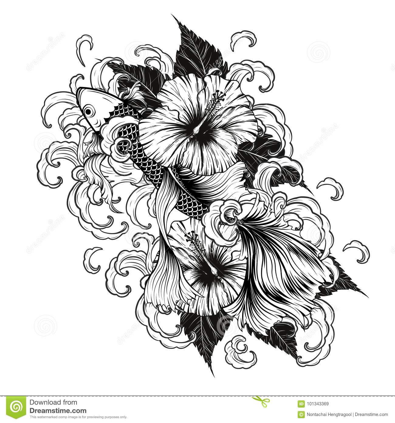 Koi Fish And Hibiscus Tattoo By Hand Drawing Stock Vector