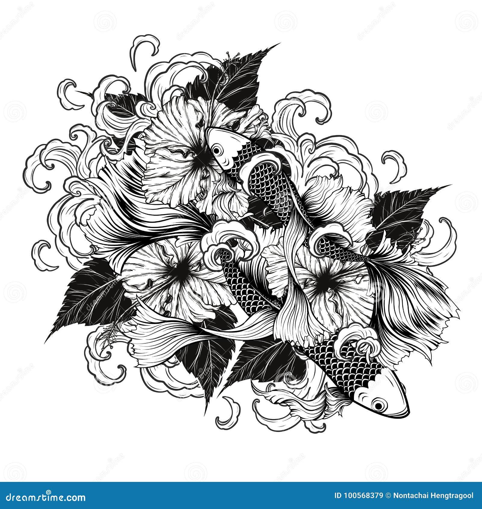 Koi fish and hibiscus tattoo by hand drawing stock vector download koi fish and hibiscus tattoo by hand drawing stock vector illustration of culture izmirmasajfo