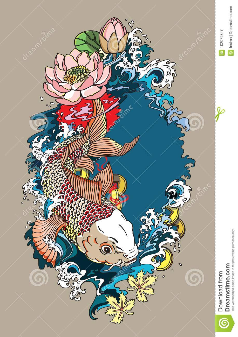 Koi Fish Illustration Stock Vector Illustration Of Lily 102079327