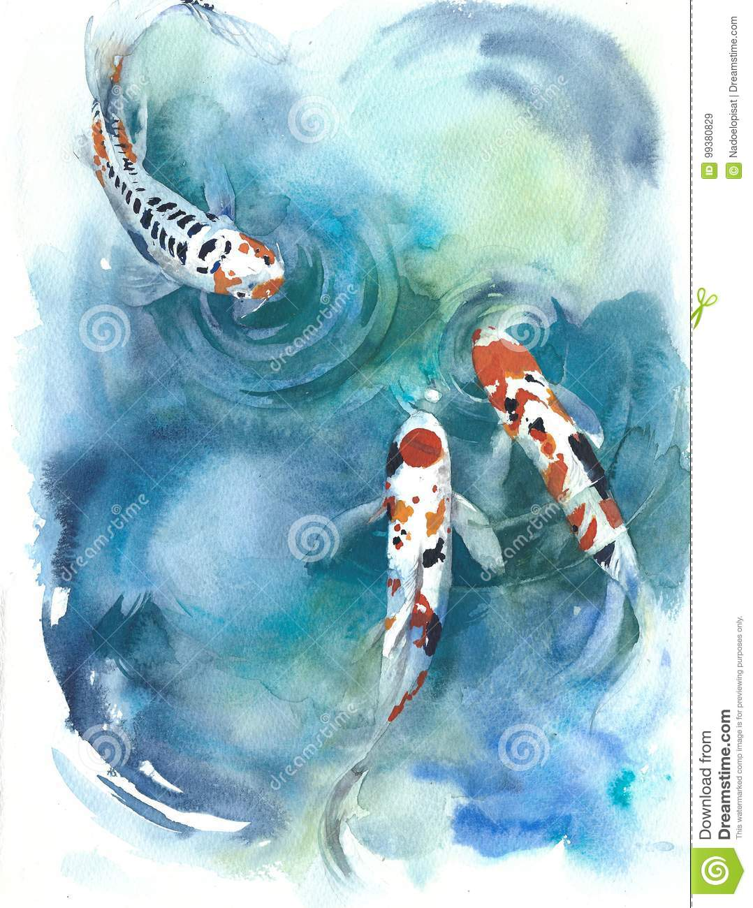Koi fish Japanese symbol in the pond watercolor painting illustration
