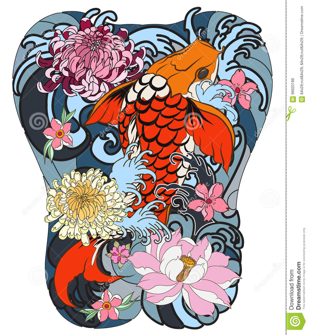 Koi Fish With Peony Flower And Wave Tattoo,Japanese Tattoo For Back ...