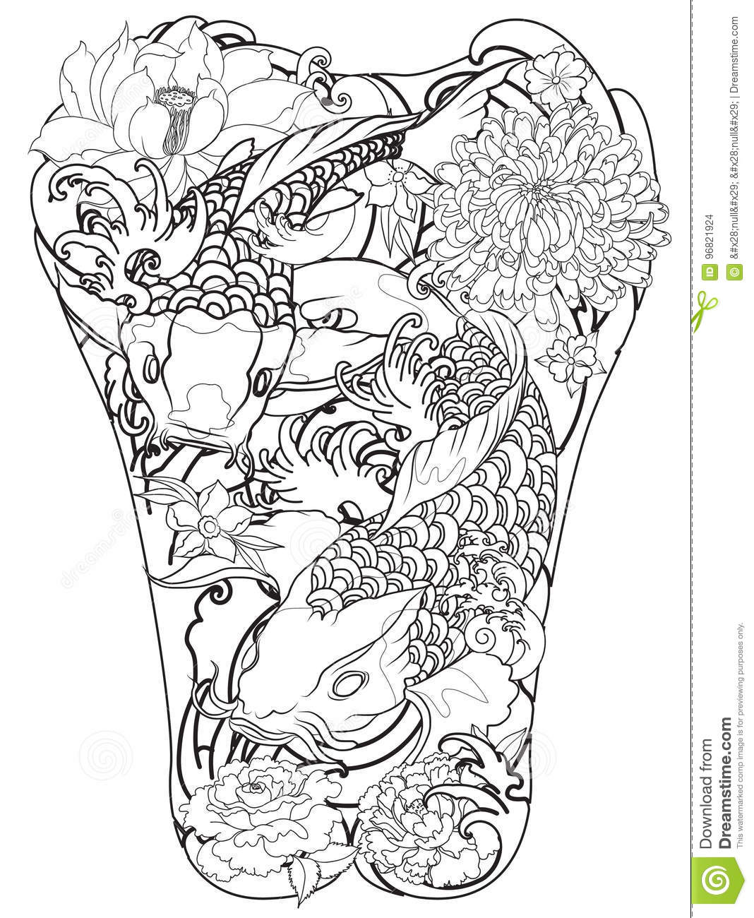 Koi Fish With Peony Flower And Wave TattooJapanese Tattoo For Back Body