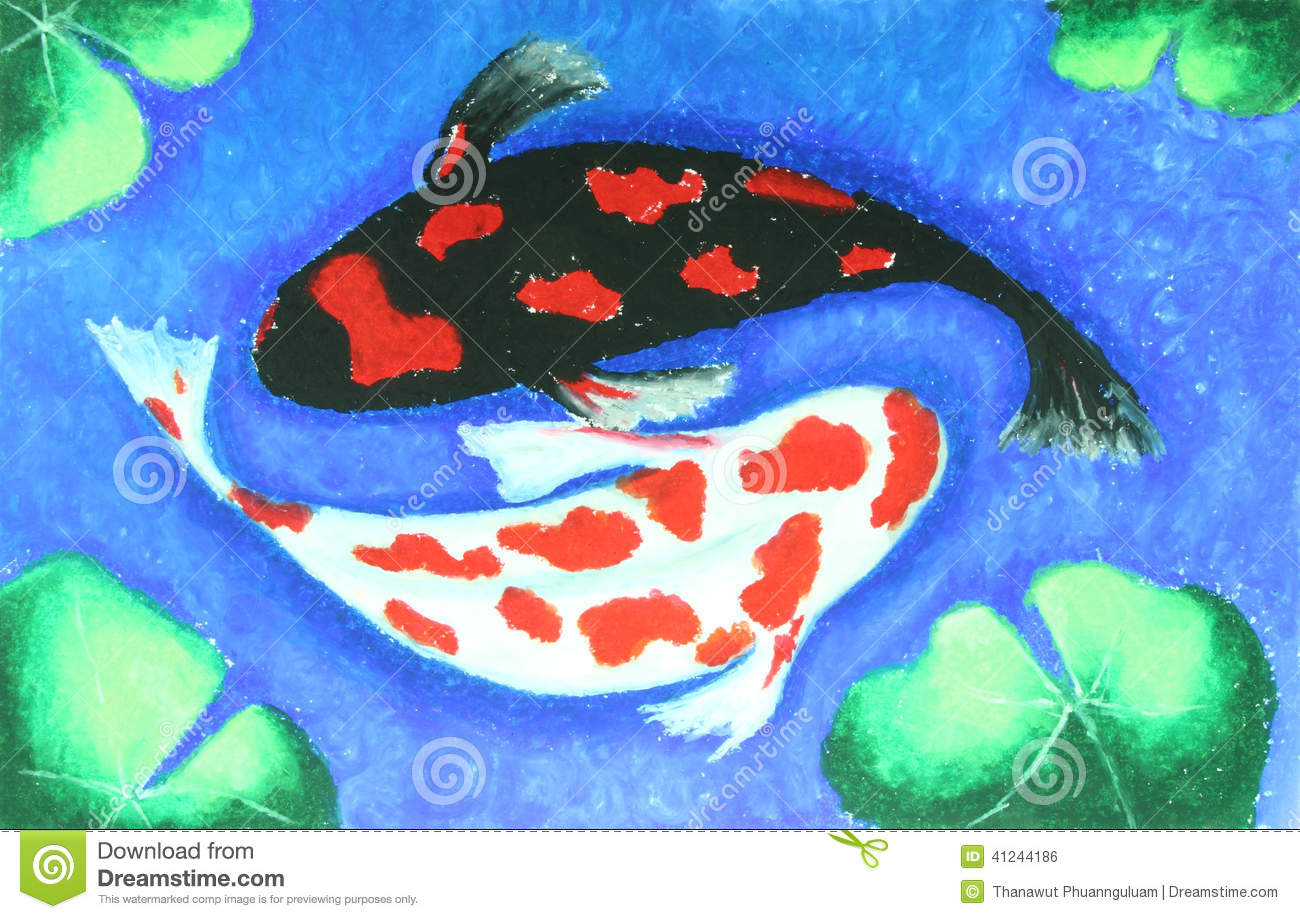Koi fish swiming in water painting stock illustration for Koi fish in water