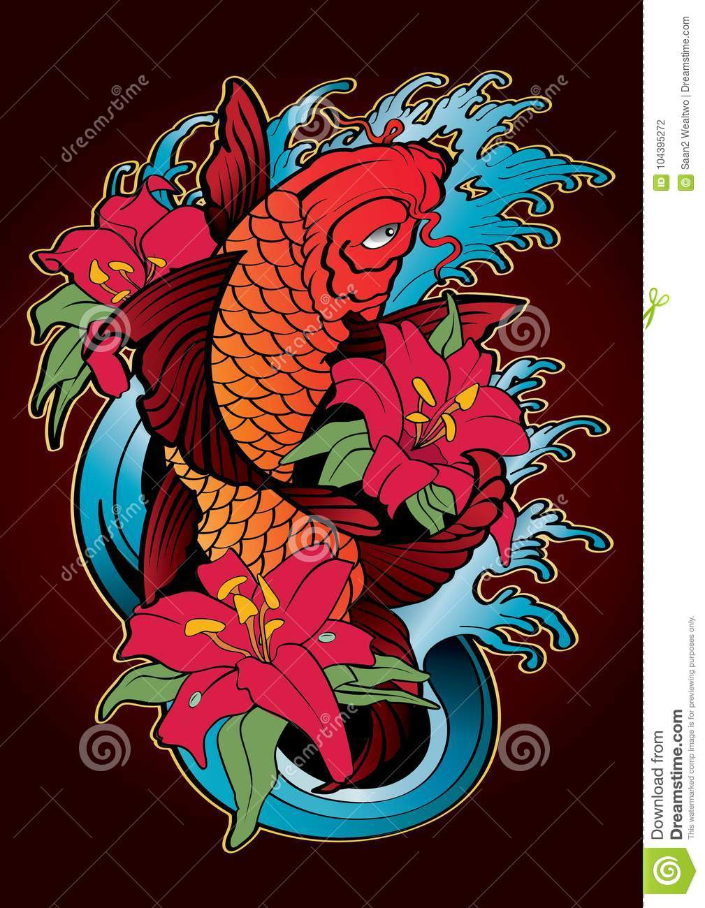 Koi Fish Tattoo Japanese Style Color Stock Vector - Illustration of ...