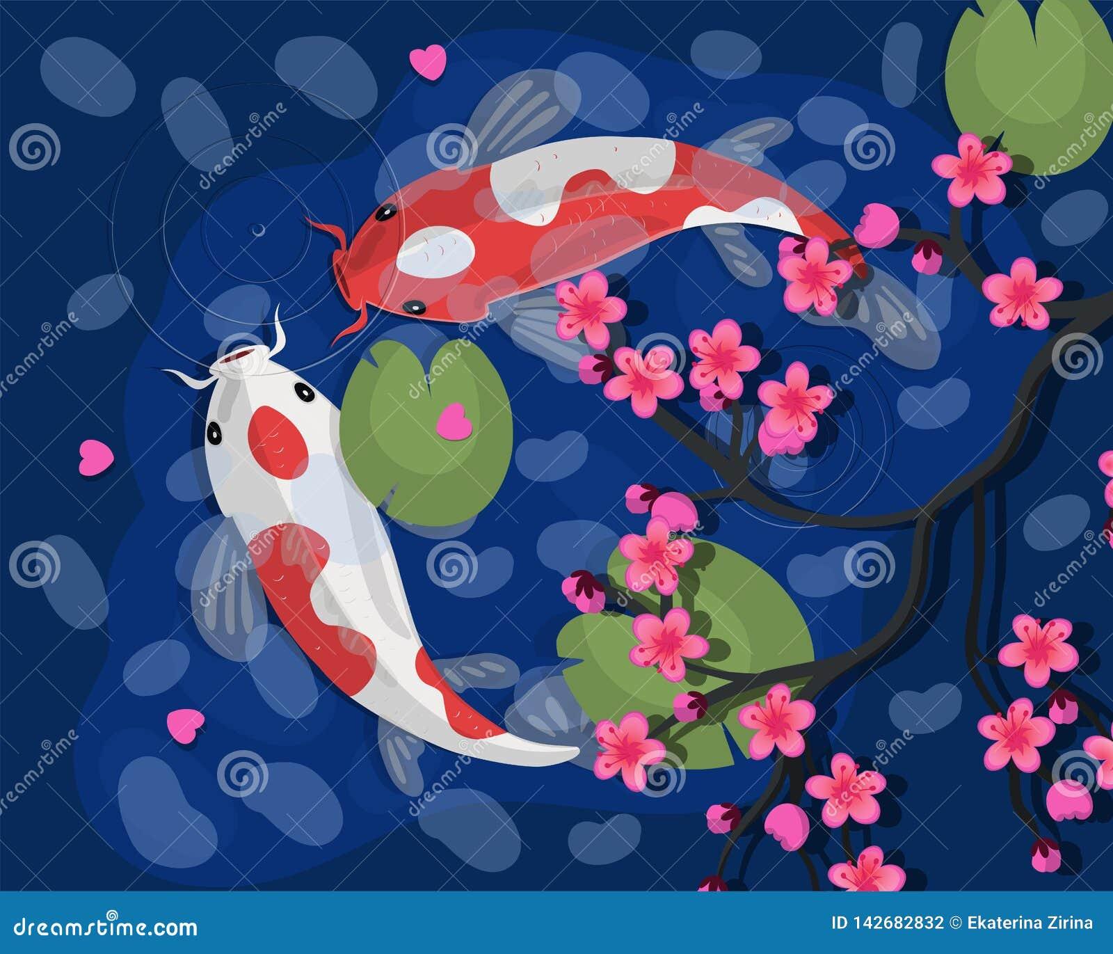 Koi Karpfen Fisch-Vektorillustration Koi japanische Chinesischer Goldfish Koi-Symbol des Reichtums