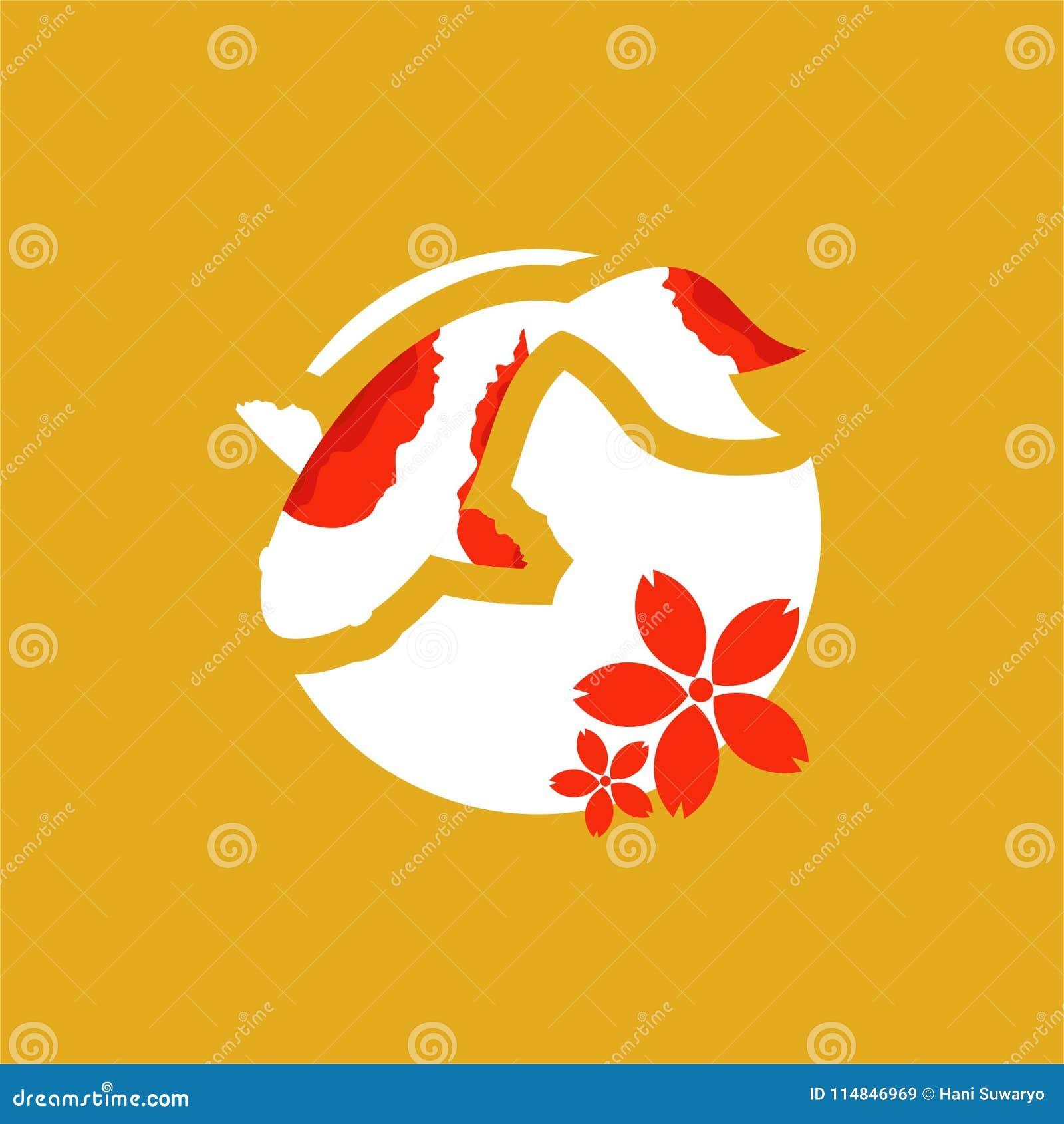 Koi Logo Japan Fish Japanese Koi Fishes Logo Luck Prosperity And