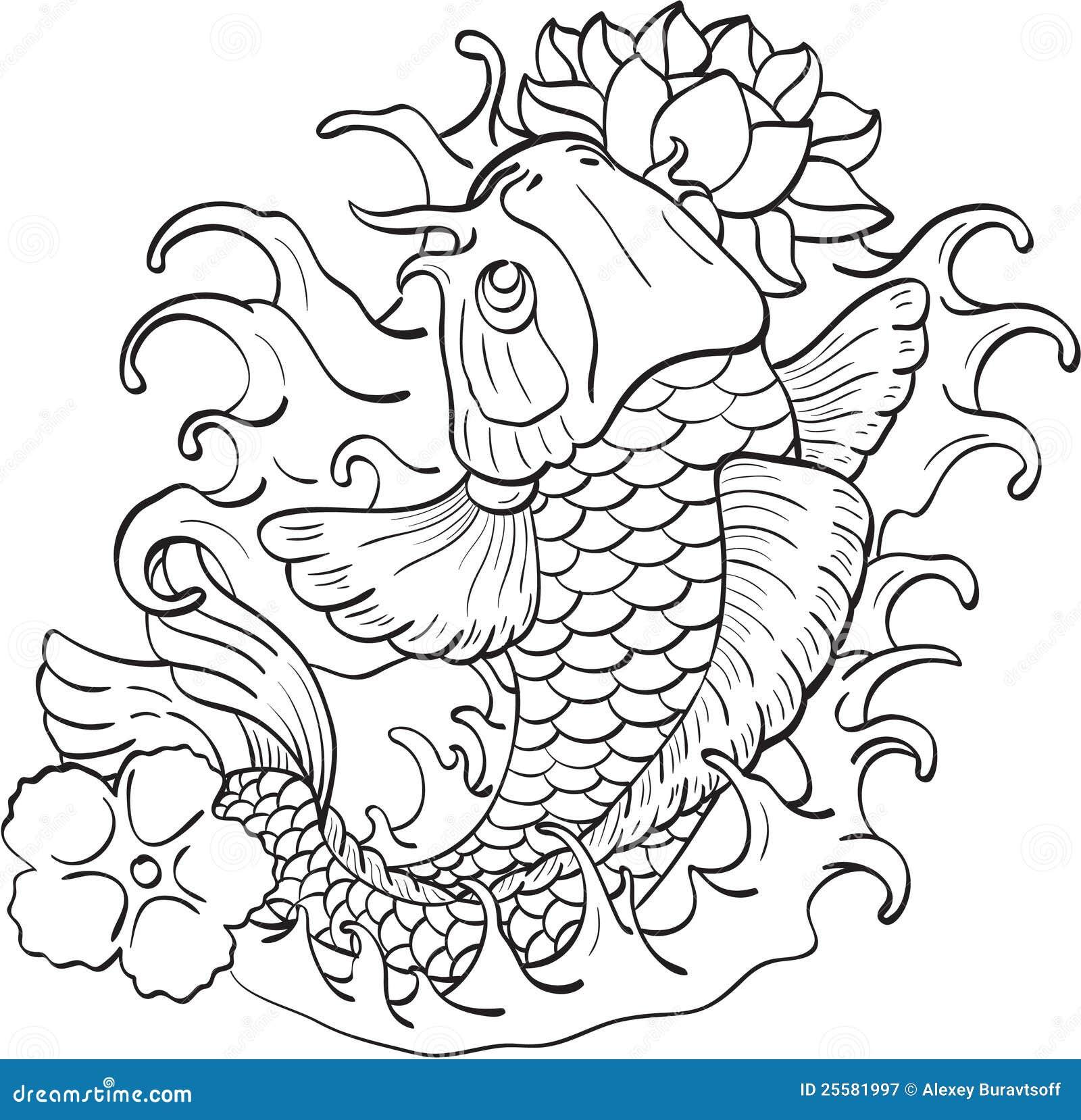 Koi and lotus stock vector illustration of swimming 25581997 koi and lotus izmirmasajfo Images