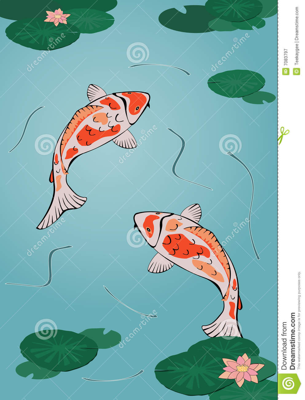 Koi pond stock vector image of bloom goldfish blossom for Koi fish pond drawing