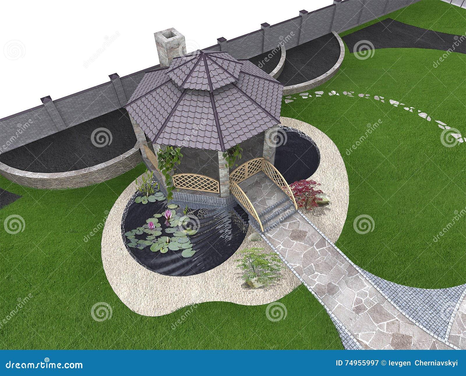 koi pond and gazebo aerial 3d rendering stock illustration