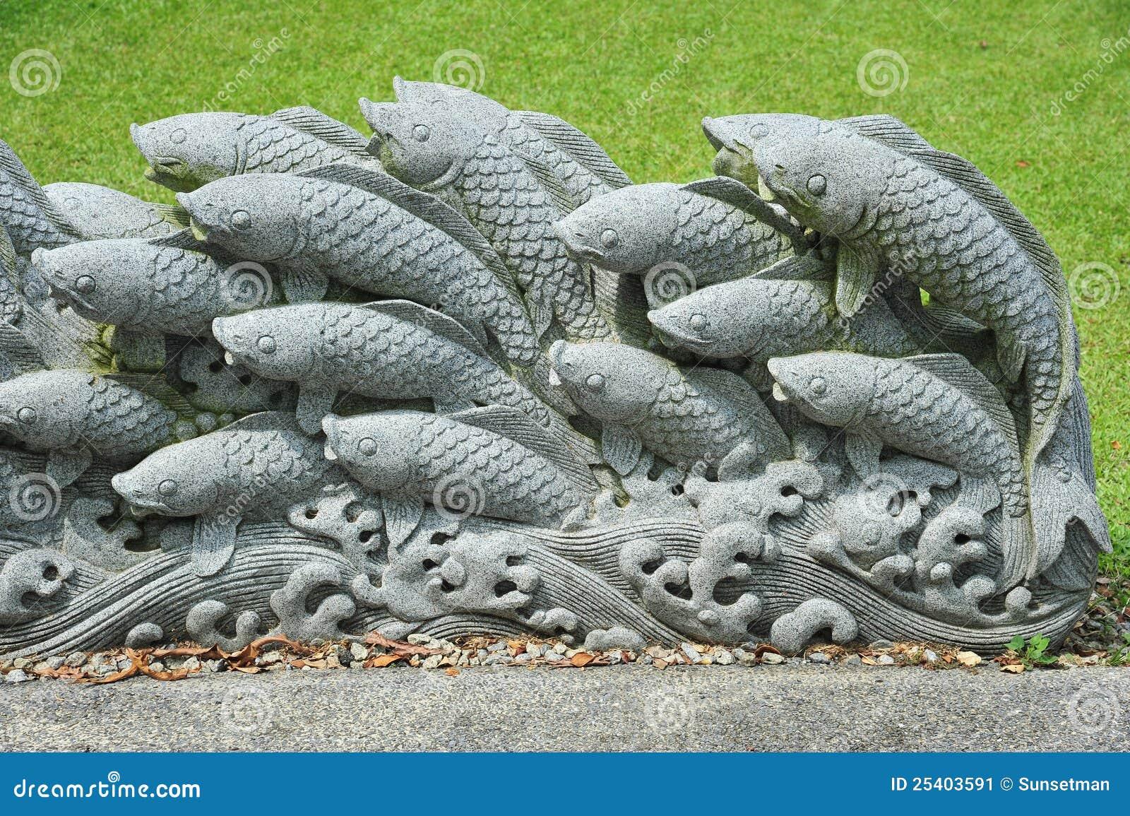 Koi stone carving stock image