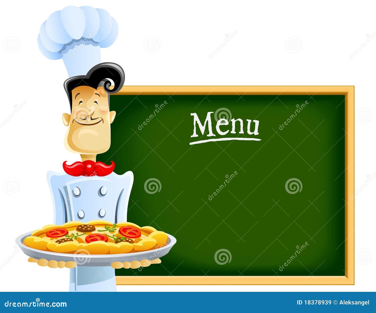 Kok met pizza en menu