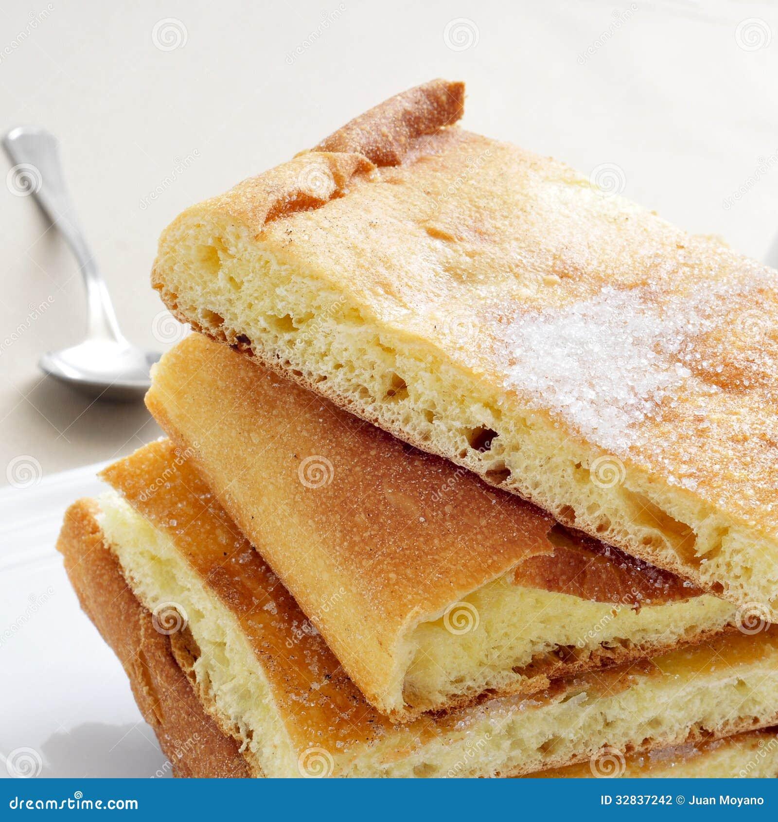 Kokade Sucre Typischer Susser Flacher Kuchen Von Katalonien Spanien