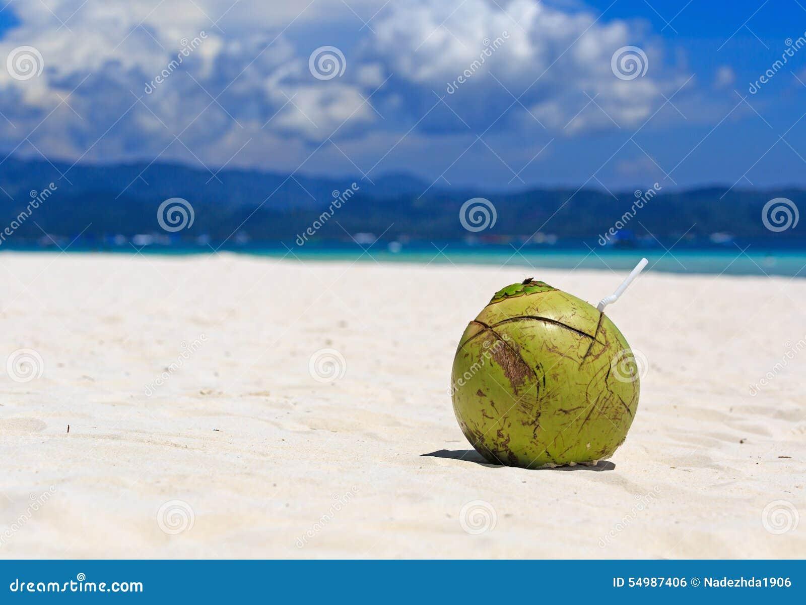 Kokosnötdrink på den tropiska sandstranden