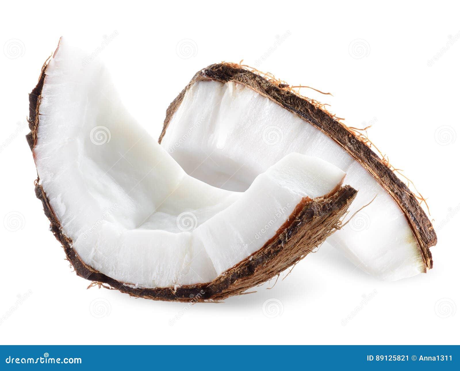 Kokosnötstycken som isoleras på en vit bakgrund