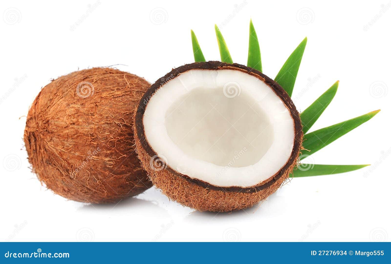 Kokosnötter med leaves