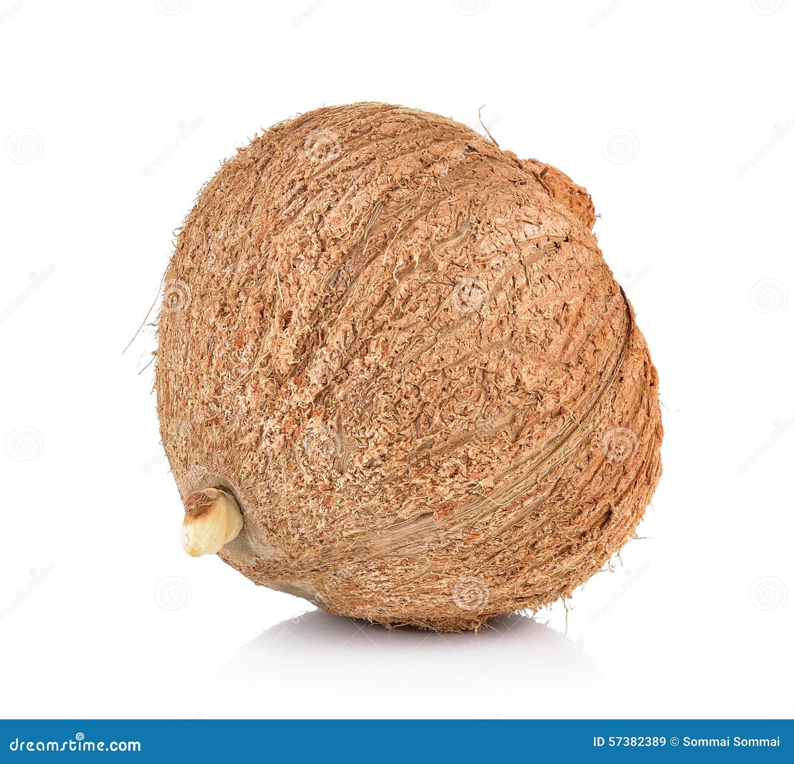 Kokosnotenclose-up op witte achtergrond