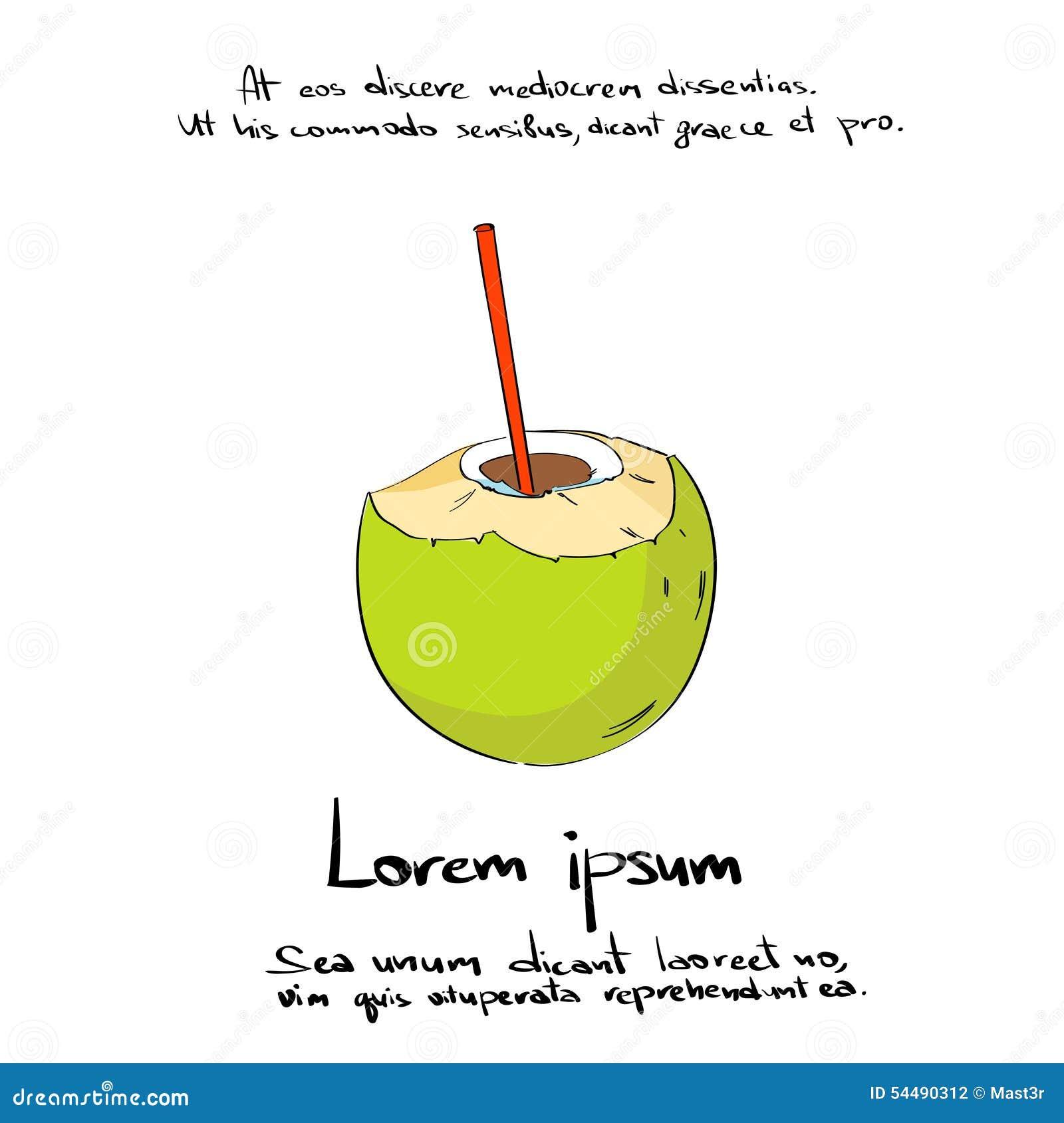 Kokosnuss-Straw Drink Cut Hand Draw-Logo