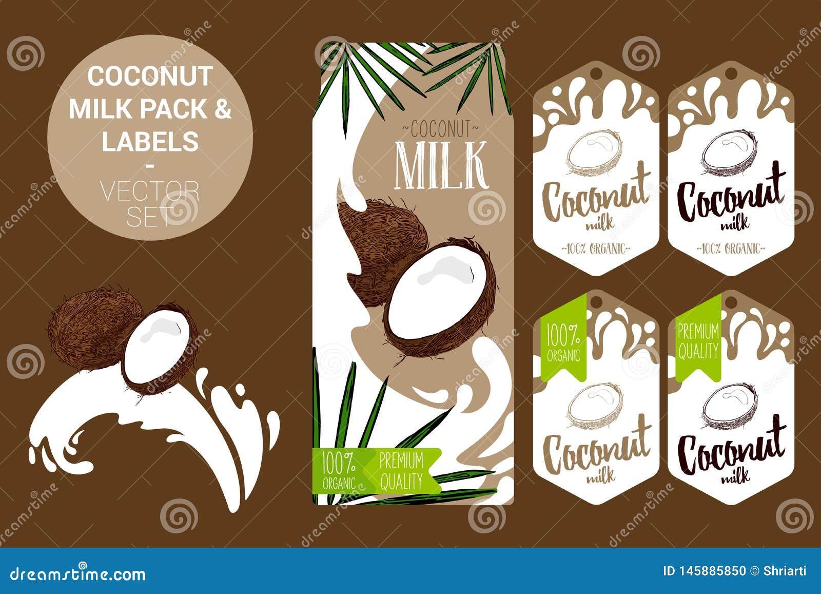 Kokosowego mleka paczka z palmą opuszcza, organicznie etykietek etykietki Kolorowi tropikalni majchery egzotyczne owocowe odznaki