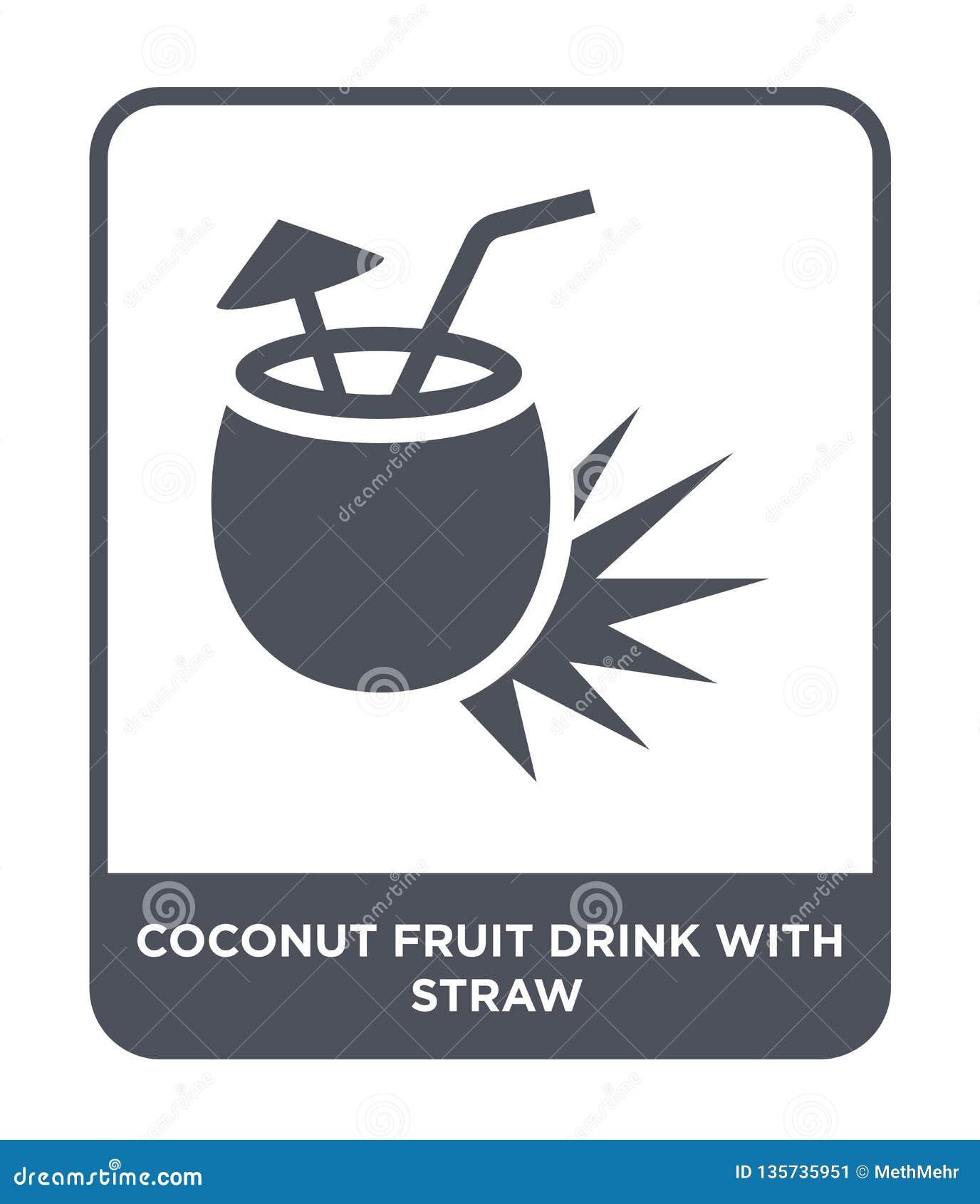 Kokosowy owocowy napój z słomianą ikoną w modnym projekta stylu kokosowy owocowy napój z słomianą ikoną odizolowywającą na białym