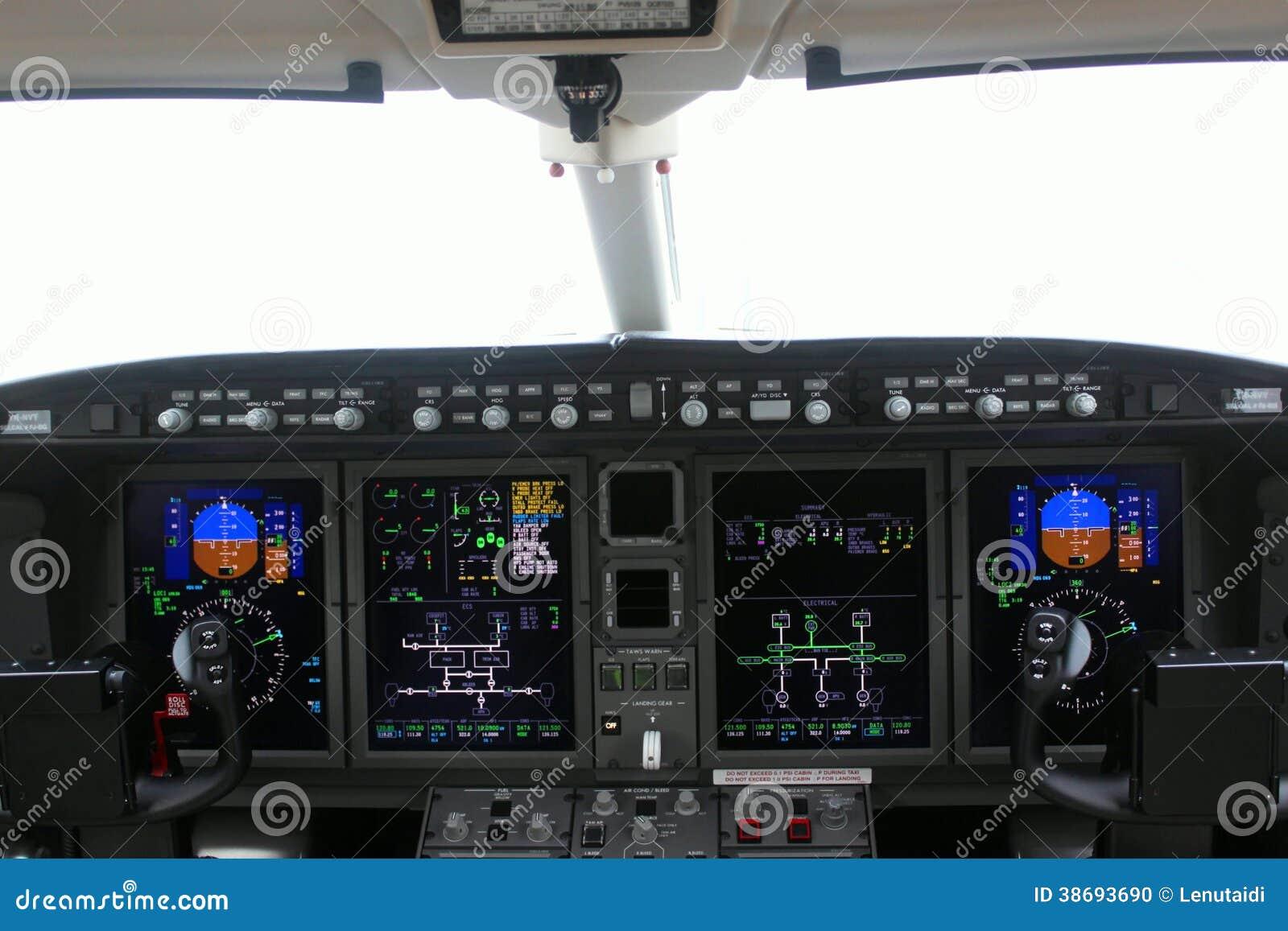 Kokpit deska i samolot