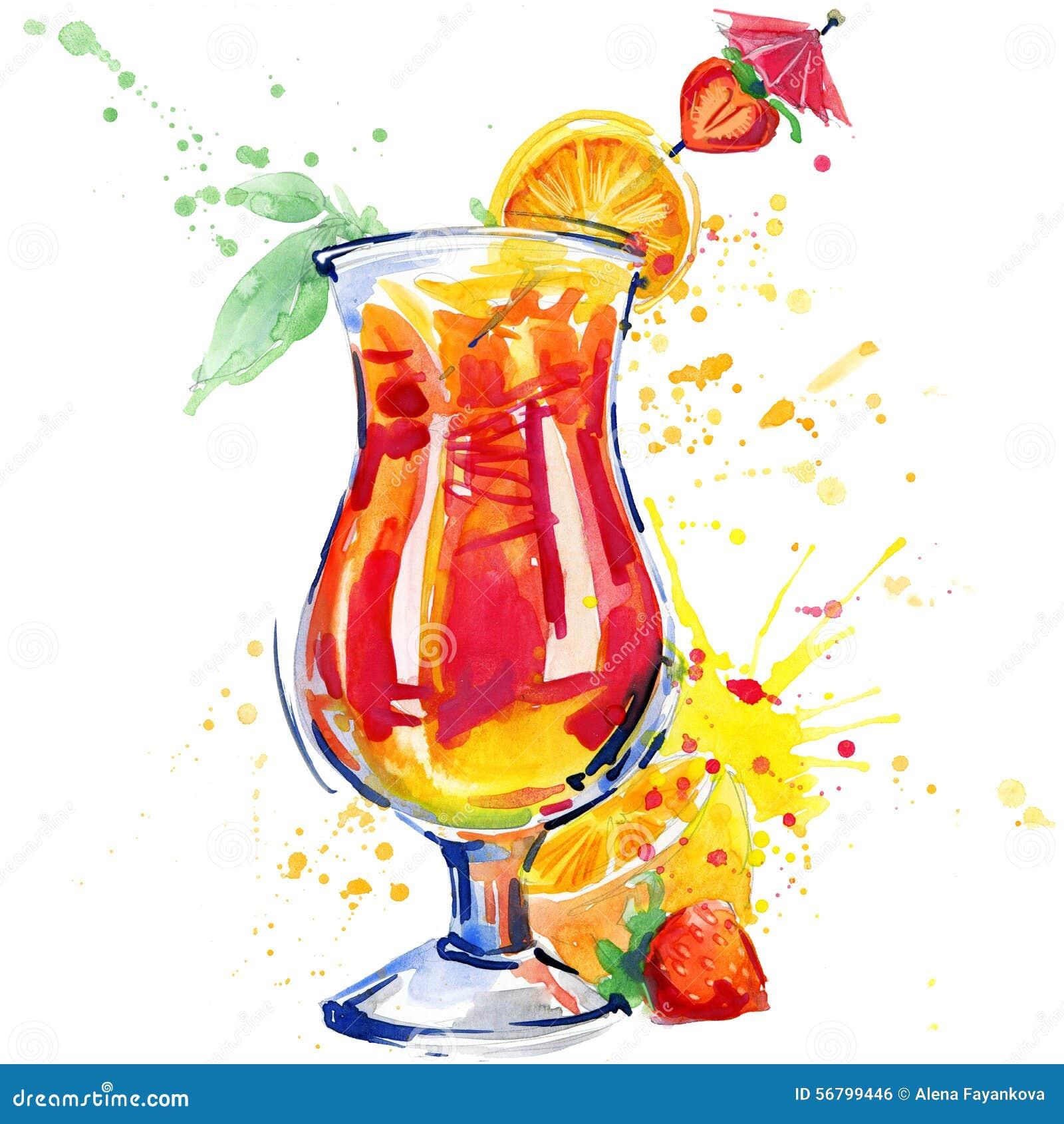 Koktajl owoc, lód i pluśnięcie, Ręka rysująca akwareli ilustracja