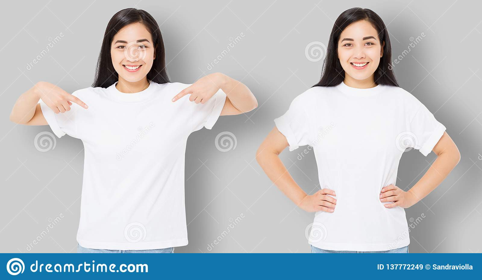 Kolaż azjatykcia dziewczyna w pustej szablonu t koszula odizolowywającej na szarym tle Młoda kobieta wskazuje kopia egzamin próbn