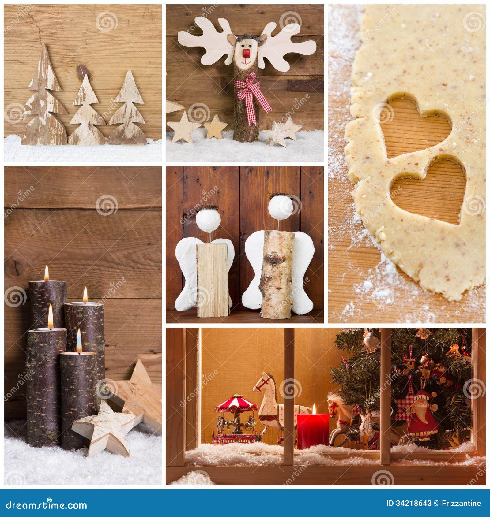 Kolaż Bożenarodzeniowe fotografie i dekoracje na ciepłym brown backgr