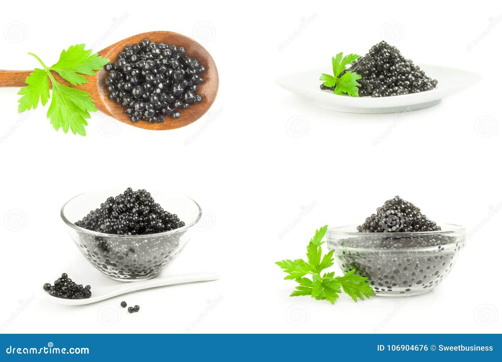 Kolaż czarny kawior na odosobnionym białym tle