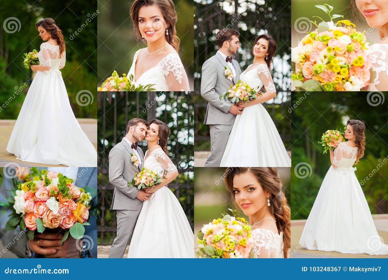 Kolaż elegancki szczęśliwy zmysłowy ślub przy słonecznym dniem