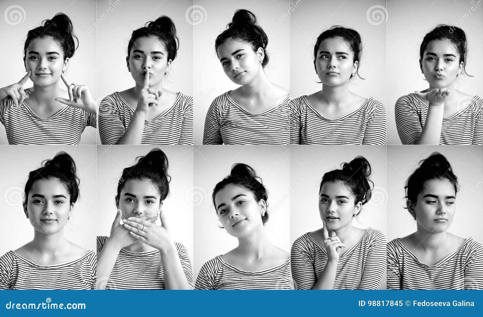 Kolaż emocjonalna dziewczyna na białym tle, Złożony pozytywne i negatywne emocje z dziewczyną, kolaż