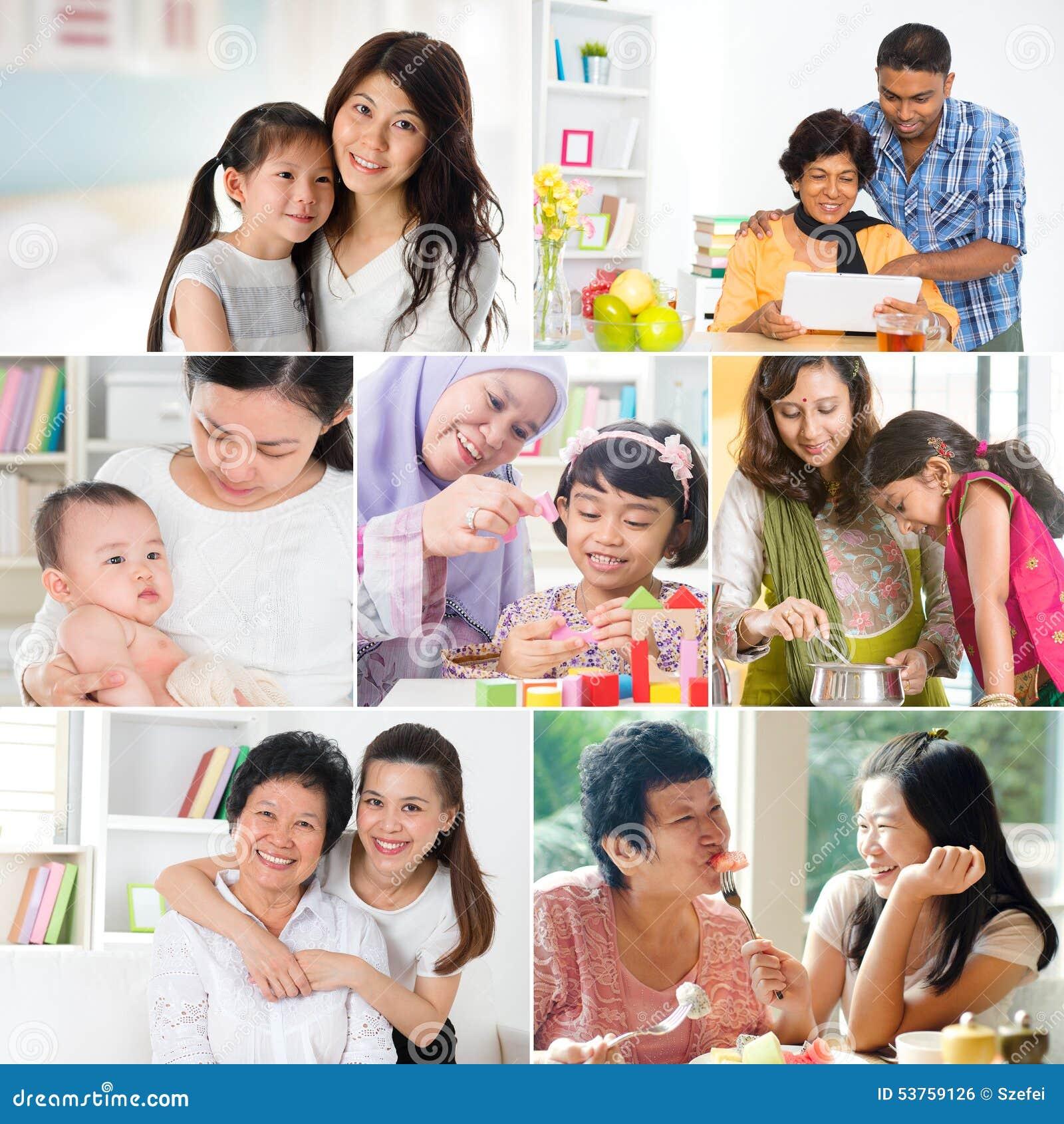 Kolaż fotografia matki i offsprings