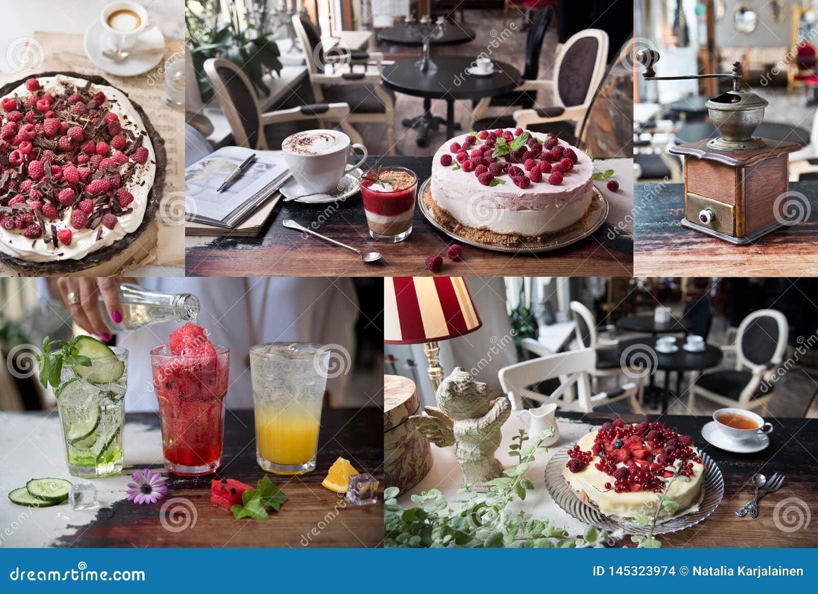 Kolaż fotografie kulinarny, cukierniany, restauracyjny, napoje, torty, cukierki Rocznika styl i retro