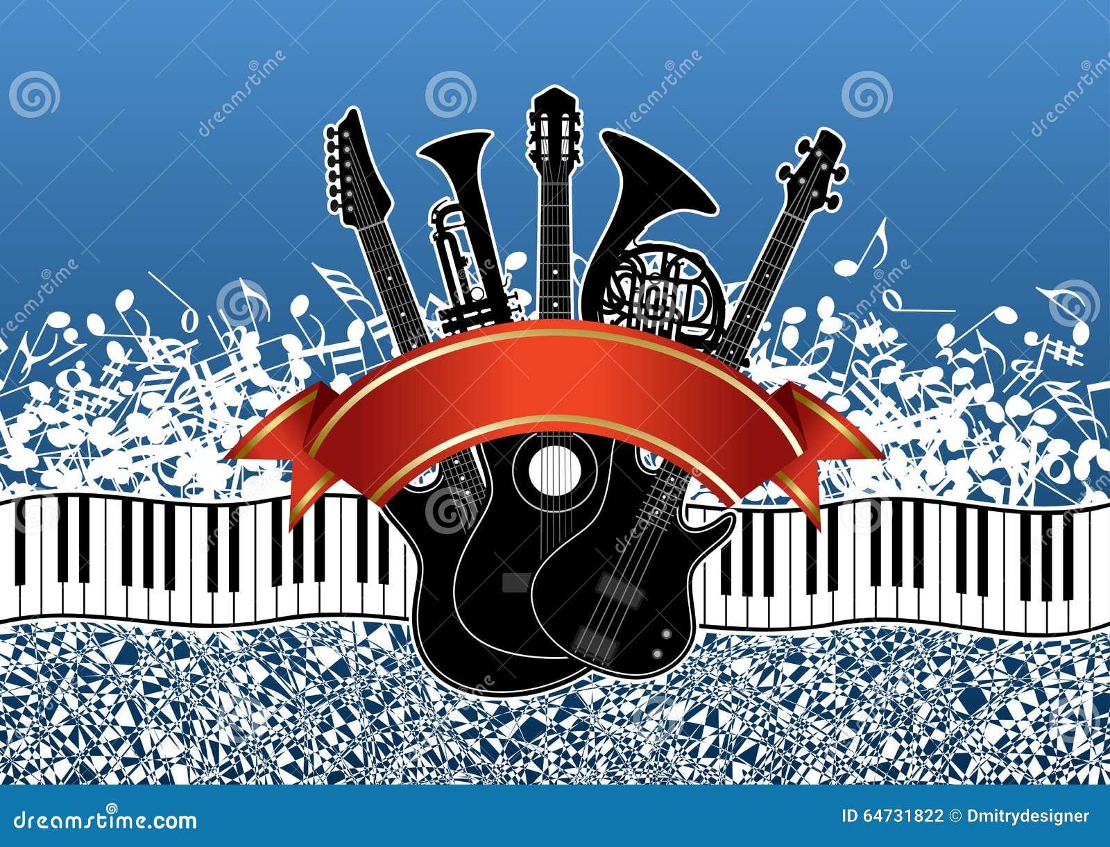 Kolaż - instrumenty muzyczni na abstrakcjonistycznym tle