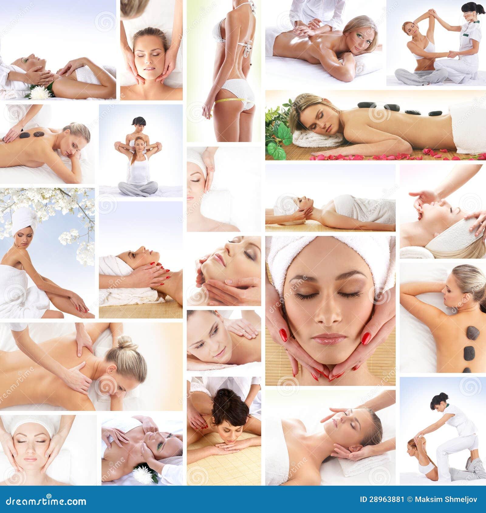 Kolaż młode kobiety na zdrój procedurach