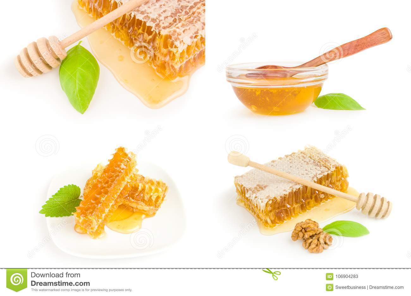Kolaż miodowa pszczoła na odosobnionym białym tle