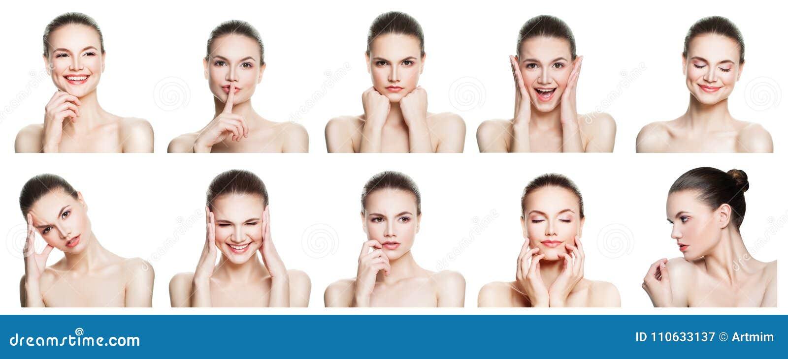 Kolaż negatywni i pozytywni żeńscy twarzy wyrażenia
