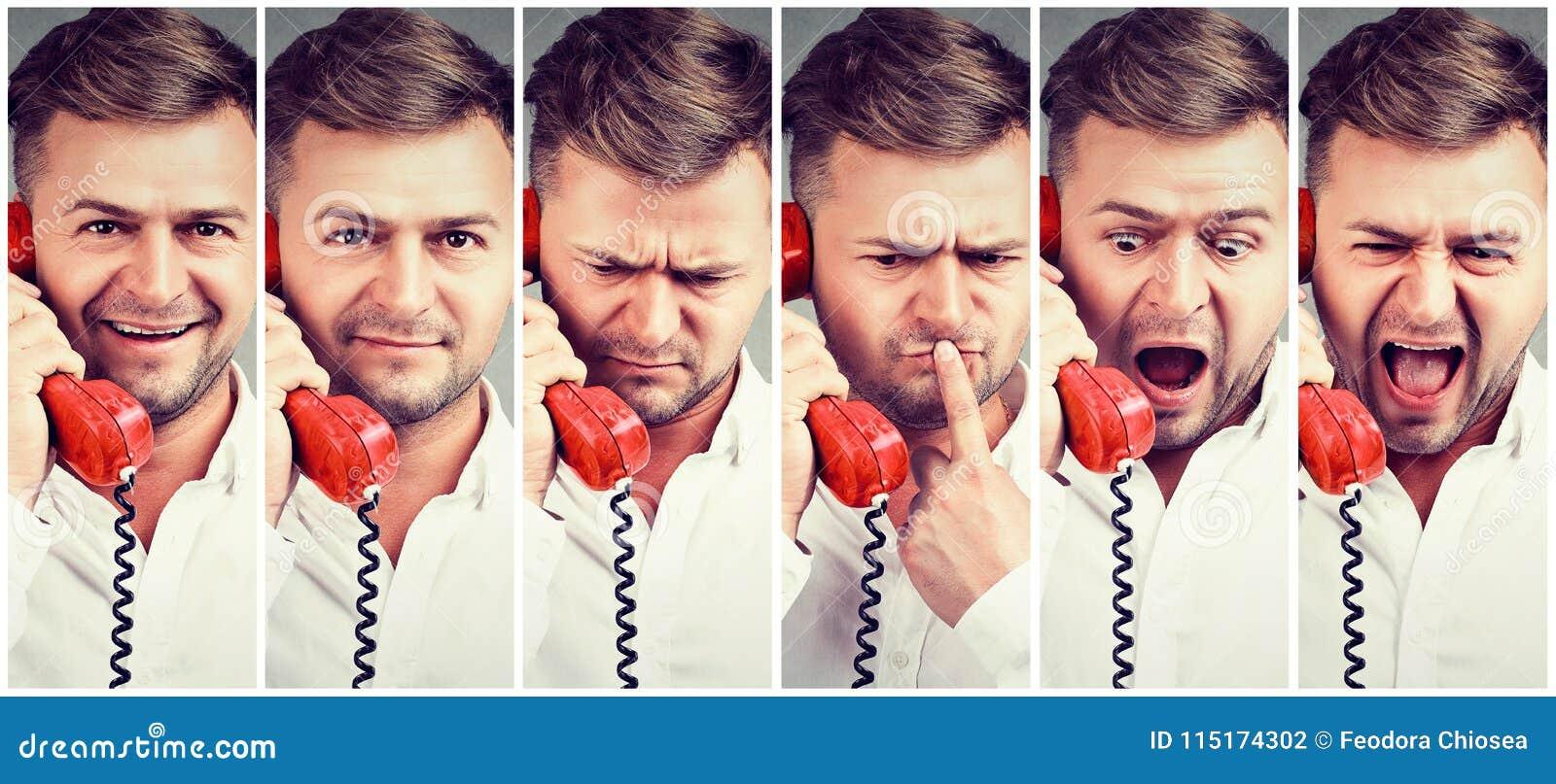Kolaż opowiada na telefonie mężczyzna
